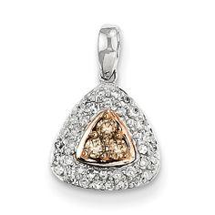14K White Gold Champagne & White Diamond Pendant
