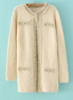 White Long Sleeve Pearl Fringe Cardigan - Sheinside.com