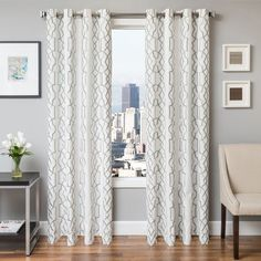 Softline Tyler Embroidered Grommet Top Curtain Panel Haze - 935TSK456GTUL96