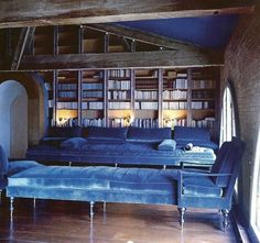 Pauline de Rothschild's Blue Library. Can you imagine stretching out on that sumptuous blue velvet