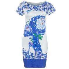 Fashionable Blue and White Porcelain Round Neck Short Sleeve Dress For Women