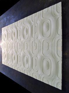 retro design, white Jesmonite, 300mm sq. Tile Design, 3d Design, House Design, Surface Studio, Retro Design, Mid Century Design, Surface Pattern, Wall Tiles, Sculpture Art