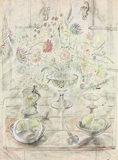 David Jones - Chalice with Flowers - pencil, coloured crayon, watercolour and bodycolour 78 x 57.2 cm - c. 1950