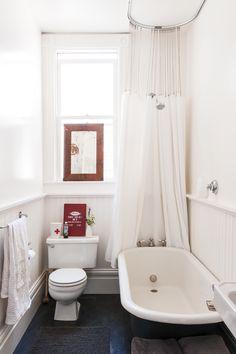 Bathroom Windows In Shower, Window In Shower, Small Bathroom, Shower Curtains, Hang Curtains, Downstairs Bathroom, Bathroom Ideas, Cape Cod, Classic Bathroom