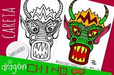Máscara de Dragón Chino para imprimir  ideal para #Fiestas temáticas