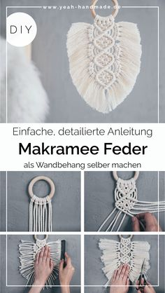 Macrame Design, Macrame Art, Macrame Projects, Macrame Wall Hanging Patterns, Macrame Patterns, Macrame Plant Hangers, Yarn Crafts, Diy And Crafts, Micro Macramé