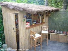 Love the outdoor bench on this beach bar shed. Bbq Shed, Pool Diy, Shed Of The Year, Pub Sheds, Wood Shed Plans, Garage Plans, Outside Bars, Backyard Bar, Patio Bar