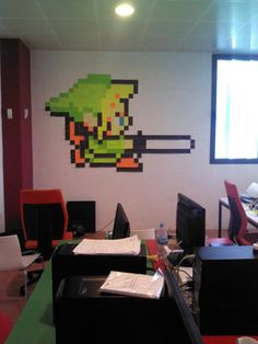 Made out of Post-Its. Cool, temporary art ideas for teen room.  Interesting to give them something new to look at every once in a while
