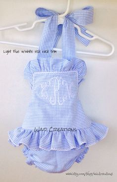 Baby bathing suit Monogrammed infant girl swimsuit gingham handmade girl bathing suit toddler - Choosing A Baby Name - ideas of Choosing A Baby Name - Girls One piece monogram ruffle swimsuit Boutique by waidcreations My Little Girl, My Baby Girl, Baby Boys, Carters Baby, Baby Girl Swimsuit, Ruffle Swimsuit, Baby Girl Fashion, Kids Fashion, Babies Fashion