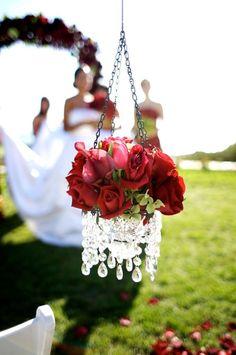 Hanging Crystal Vase Aisle Decor Crystal Wedding Decor, Red Wedding, Garden Wedding, Wedding Decoration, Fall Wedding, Wedding Stuff, Red Flower Arrangements, Floral Centerpieces, Church Aisle