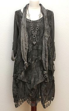 Quirky Grey 2piece Tunic Dress Scarf New Italian Lagenlook Layering Range Top | eBay