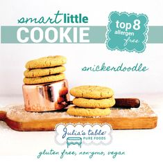 "Okay gang, this is our founder, Nate's, favorite cookie. This soft baked cookie is rich and thick with a little bit of chewiness and tastes just like a snickerdoodle. You wont believe that they are top 8 allergen-free! Purposefully made to be kosher and vegan. We wanted to create a ""school safe"" and ""party ready"" treat that tastes like a real cookie so that everyone can be included and have a special treat. They are also great for that upcoming pot luck or social gathering. Safe Schools, Pot Luck, Pureed Food Recipes, Foods With Gluten, Cookies Snickerdoodle, Gluten Free, Treats, Pure Products, Vegan"