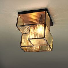 Industrial Textured Glass Flushmount - Square