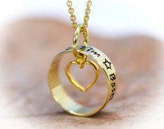 Goldanhänger - Namenskette * Familienring* Goldring mit Herz - ein Designerstück von Timbalino-Bijoux bei DaWanda