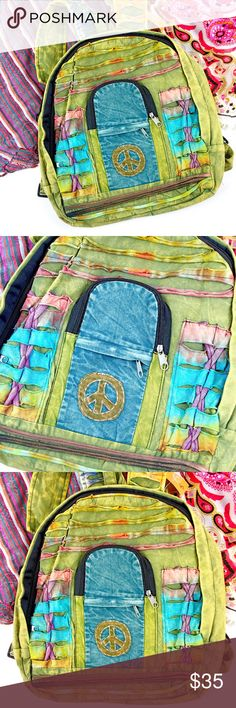 "Handmade Multi Color Peace Sign Coachella Backpack Beautiful backpack handcrafted from handmade materials featuring peace sign patch work and multi print/colors. 100% cotton and hand washable. Front pouch with zippered pocket make this an easy choice for Coachella, concerts, school, gym time or any activity. Lightweight but durable with adjustable straps.  Height is about 16"" with a width approx 14""  Brand new with tags  Holiday gift / Coachella / concerts / boho / bohemian / gypsy…"