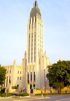 The spire of Boston Avenue Methodist Church, the only cathedral -size art deco church in the world.