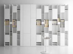 open bookcase + cupboards