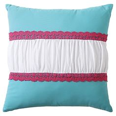 Create a sweet and dainty look in your little one's bedroom with the Amanda Crochet Square Throw Pillow. Dressed in white ruffles and pink crochet accents on an aqua ground, the cute pillow is the perfect finishing touch to the vibrant bedding. #VCNYHome #ThrowPillows #HomeDecor