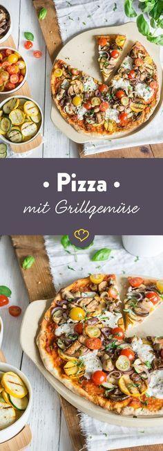 Auf diesen kross gebackenen Pizzaboden kommt nur das Beste aus dem Gemüseregal: Gegrillte Zucchini- und Auberginenscheiben und süße Kirschtomaten.