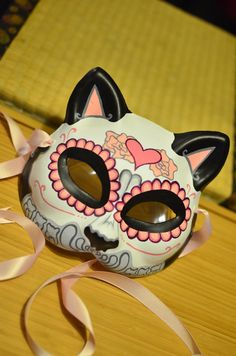 Valentines Pink Kitty Day of the Dead Cat Mask by HikariDesign