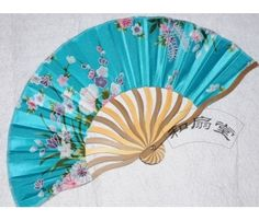 Blue Silk ladies Chinese hand fan with flowers