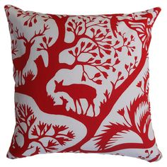 Cotton pillow with a feather-down fill and a nature-inspired motif.Product: PillowConstruction Material: Cotton c...