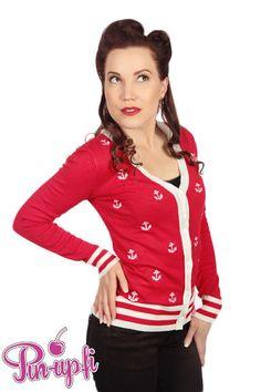 Punainen Ankkurineuletakki   Cybershop Red Leather, Leather Jacket, Girl Fashion, Fashion Tips, Pin Up, Autumn Fashion, Anchor, Jackets, Shopping