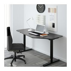 BEKANT 5-klm työpöytä, sähkösäädettävä - mustanruskea/musta - IKEA