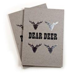 Grey Chip  Dear Deer stag Greetings Card silver foil blocked