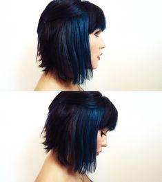 short hair && blue hair