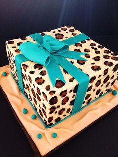 Turquoise  Leopard print cake.