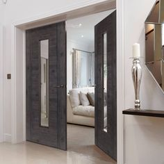 Laminates Alabama Cinza Dark Grey Coloured Door Pair with Clear Safety Glass is Prefinished - Lifestyle Image.    #grey #doubledoors