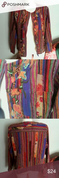 Chico's Multi Stripe Embellished Silk Jacket L 12 This is an open front jacket by Chico's in a size 2 Chico's or large or misses 12 Very artsy funky jacket!! 100% silk fabric, fully lined Stripes and patchwork design embellished with embroidery and sequins Multi colors as shown In excellent used condition Chico's Jackets & Coats Blazers