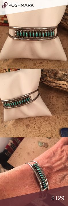 Vintage Zuni Needle Point Turquoise Cuff signed This vintage Zuni handmade Turquoise Needle Point bracelet is made by the artist W.D. Weeka. This piece is 1/2 of a inch wide and 5 inches inside width and a 1 inch gap. This cuff is signed by the artist.  Thank you for checking out our items and please contact us with any questions. Jewelry Bracelets