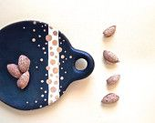 Gold Polkadots Ceramic. Contemporary Gifts . Black Ceramic from Guatajiagua. Trinket Holder. Nuts Serving Plate. Rustic Home Decor.
