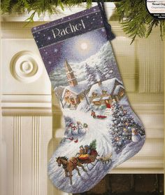 Cross Stitch Kits Dimensions Gold Counted Cross Stitch Kit Sleigh Ride At Dusk Stocking - Cross Stitch Christmas Stockings, Cross Stitch Stocking, Christmas Stocking Pattern, Xmas Stockings, Santa Stocking, Christmas Patterns, Cross Stitching, Cross Stitch Embroidery, Embroidery Patterns