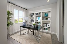 Inviting home office | Seth model home | Parker, Colorado | Richmond American Homes Industrial Office Design, Modern Office Design, Office Interior Design, Office Interiors, Richmond American Homes, Commercial Office Design, Solid Wood Desk, Flex Room, Inviting Home