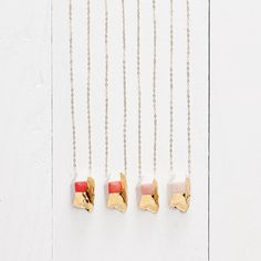 Small Porcelain Crystal Necklace in 14k Gold Luster
