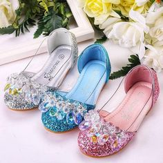 Bling Glitter Crystals Blue, Silver and Pink Girls Dress Shoes. Princess Shoes for Wedding, Flower g Girls Dress Shoes, Dresses Kids Girl, Ladies Shoes, Princess Shoes, Princess Anna, Pageant Shoes, Sparkle Shoes, Glitter Shoes, Shoe Wardrobe