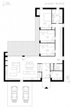 L shaped house plan, 165 square meters Source Best House Plans, Modern House Plans, Small House Plans, Minimalist House Design, Minimalist Home, Modern House Design, The Plan, How To Plan, Container Home Designs