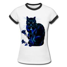 Very Black Cat and Roses White/Black Women's Ringer T-Shirt |... ($24) ❤ liked on Polyvore featuring tops, t-shirts, t shirt, white and black t shirt, petite shirts, petite tee and black white shirt