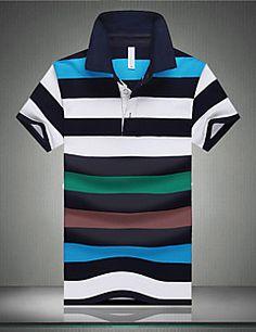 2015 New leisure polo lacote men striped shirt business short sleeve golf lapel plus size summer camisa masculina social shirt Mens Polo T Shirts, Boys T Shirts, Men's Polos, Polo Jeans, Dickies Shorts, Plus Size Summer, Striped Polo Shirt, Aliexpress, Cotton Shorts
