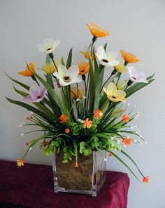 Handmade Colorful Nylon Flower Arrangement by LiYunFlora on Etsy