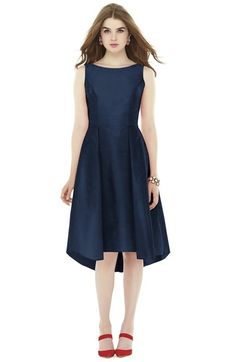 Alfred Sung Bow Back Dupioni Fit & Flare Midi Dress available at #Nordstrom