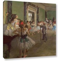 Edgar Degas The Dancing Class Gallery-wrapped Canvas Art, Size: 14 x 18, White