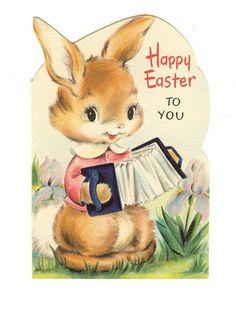 Vintage 1950's HALLMARK Easter Bunny Greeting Card Die Cut
