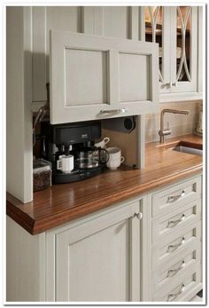Don't feel limited by a small kitchen space. These 50 designs for kitchen island to inspire you to make the most of your own tiny kitchen. Maximize your kitchen storage and efficiency with these kitchen design ideas and kitchen cabinet design hacks. Custom Kitchen Cabinets, Kitchen Redo, Kitchen Counters, Kitchen Appliances, White Appliances, Kitchen Tv, Coffee Corner Kitchen, Kitchen Makeovers, Kitchen Modern
