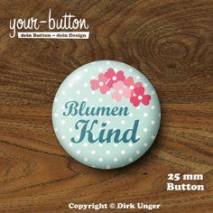 Hochzeitsbuttons - Button »Blumenmädchen/Blumejunge/Blumenkind« 25 mm - ein Designerstück von yourbutton bei DaWanda