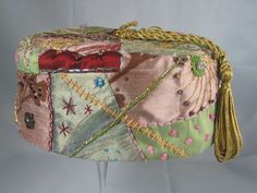 Handmade Smoking Cap - Lounging Hat - Crazy Patchwork Pure Silk Multicoloured Plus Beads And Embroidery