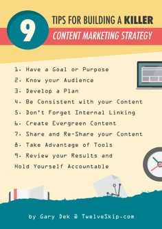 Tips For Building A Killer Content Marketing Strategy: http://www.twelveskip.com/marketing/content-marketing/1355/build-content-marketing-strategy #contentmarketing #internetmarketing